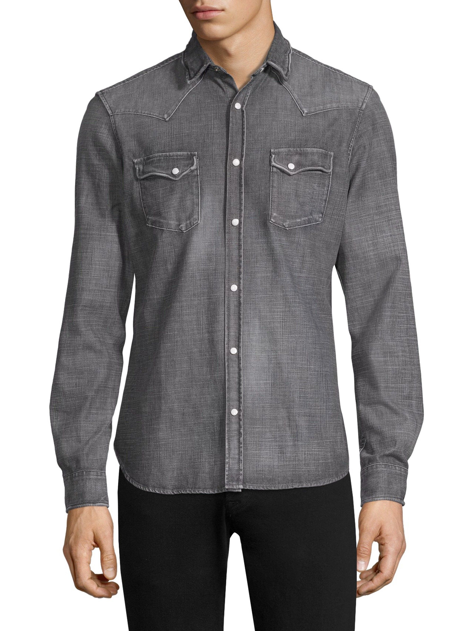 6e76ea27079 The Kooples Washed Denim Shirt - Grey X-Small | Products | Denim ...