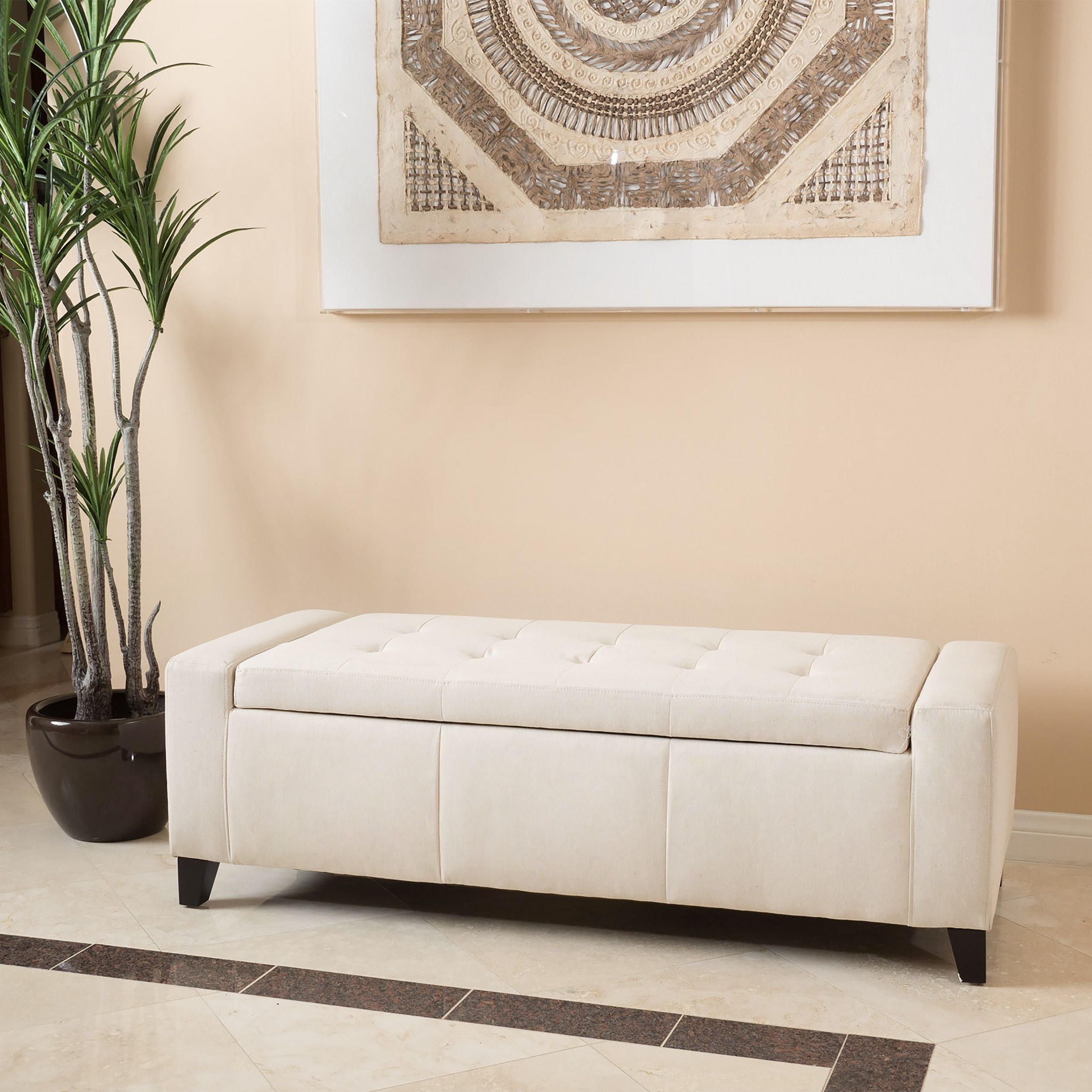 Guernsey Fabric Storage Ottoman Bench by Christopher Knight Home ...