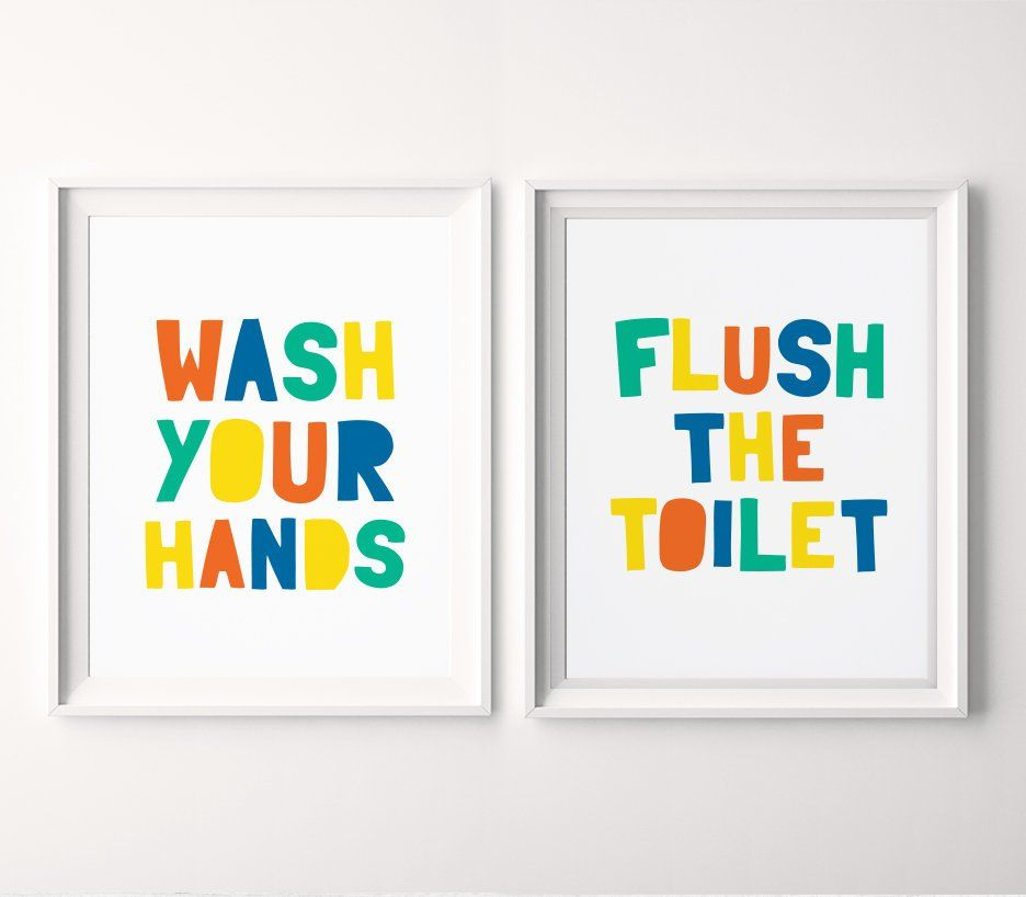 Kids Bathroom Printable Art Set Of 2 Wash Your Hands Sign Flush Toilet Sign Children Bathroom Wall Art Kids Decor Instant Download Bathroom Art Printables Bathroom Wall Art Bathroom Art Decor