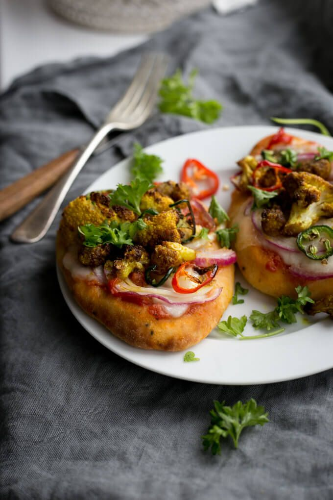 Naan Bread Pizza With Roasted Cauliflower Recipe Vegan Gf