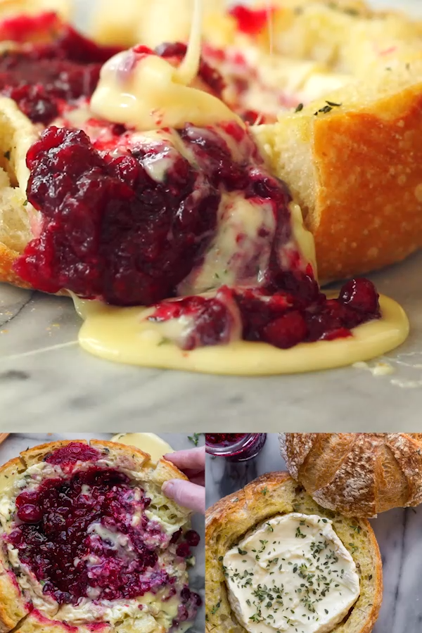 ★★★★★ | BAKED CRANBERRY BRIE BREAD BOWL (VIDEO!) #partyappetizers