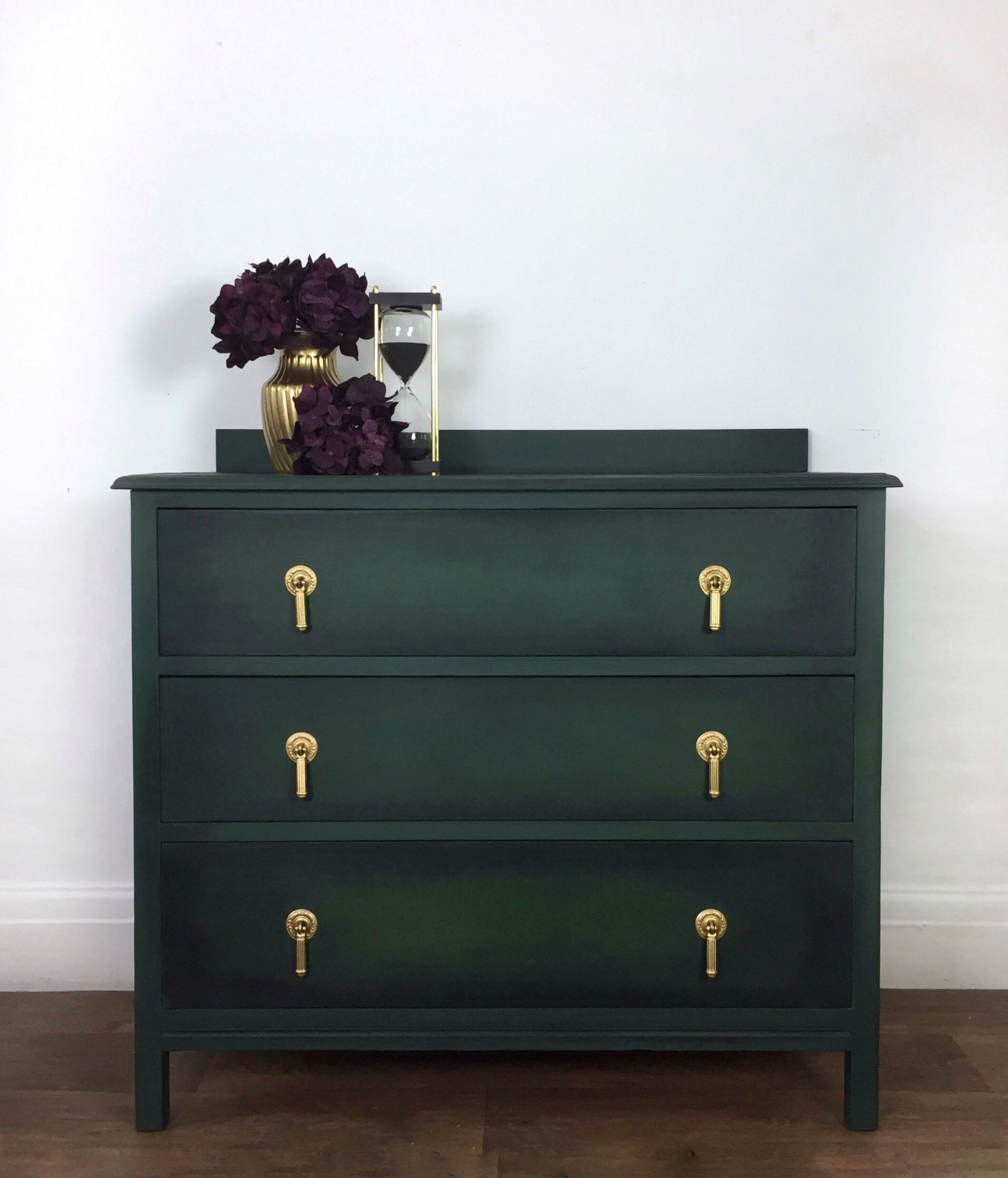 Dark Green Black And Gold Chest Of Drawers In 2020 Green Bedroom Furniture Dark Green Rooms Living Room Chest