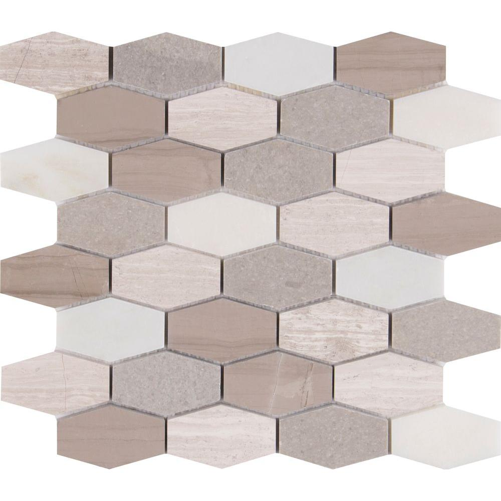 Msi Bellagio Blend Elongated Hexagon 12 In X 12 In X 10 Mm Honed Marble Mesh Mounted Mosaic Tile 1 Sq Ft Belblnd Hexel The Home Depot Marble Mosaic Tiles Hexagon Tile Floor Mosaic Flooring