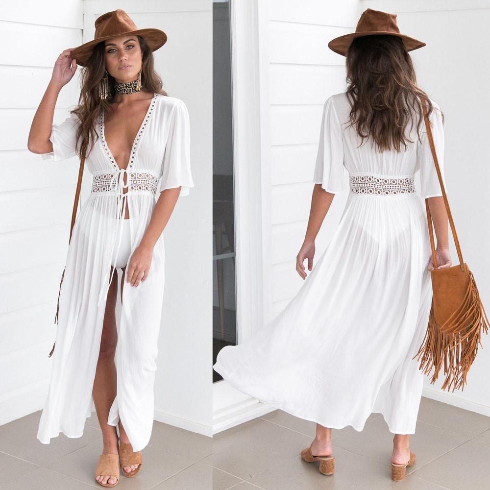 4b2f9cb854 Sexy Bikini Beach Dress. Long Bikini Cover Up Cardigan Summer Kimono ...