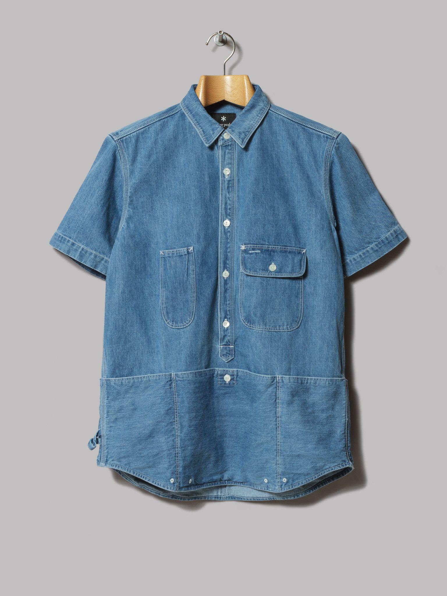 3e3c6ebaf1 Snow Peak Field Denim Pullover Short Sleeve Shirt (Indigo) Jean Shirts
