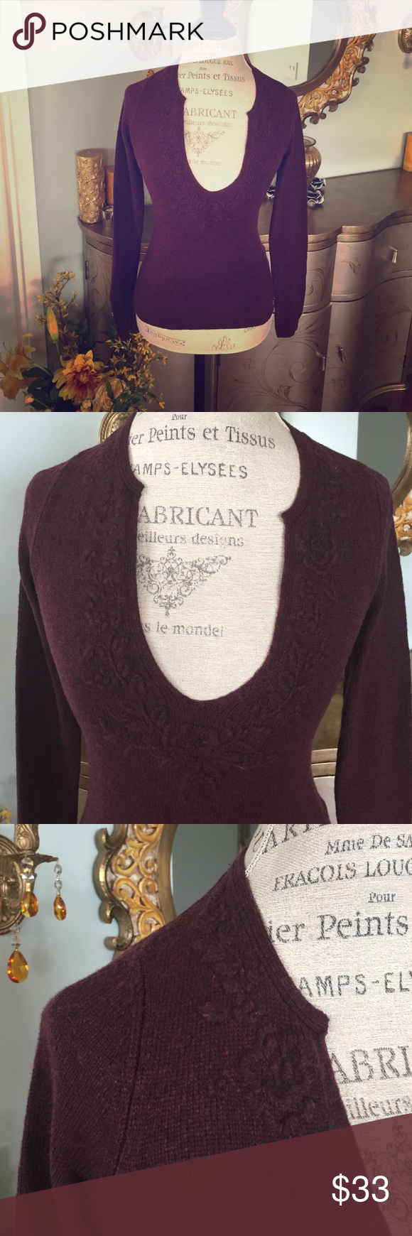 Esprit Wool Sweater Burgundy sweater detailed with beautiful floral thread work.  75 % wool, 25% rayon. Esprit Sweaters