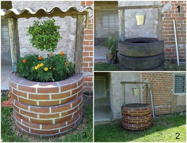 Este Pozo De los deseos armé en mi jardín reciclando neumáticos - jardines con llantas