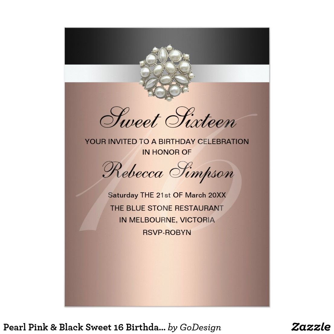 Pearl Pink & Black Sweet 16 Birthday Invitation   Sweet 16 birthday ...