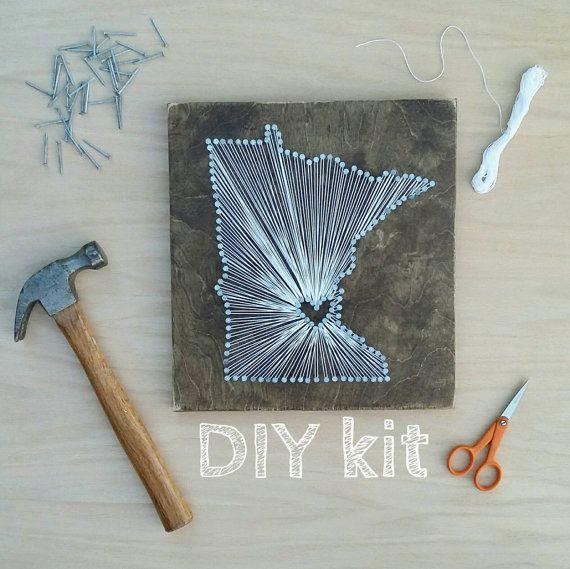 Diy Minnesota String Art Kit State String Art Kit Minnesota Nail