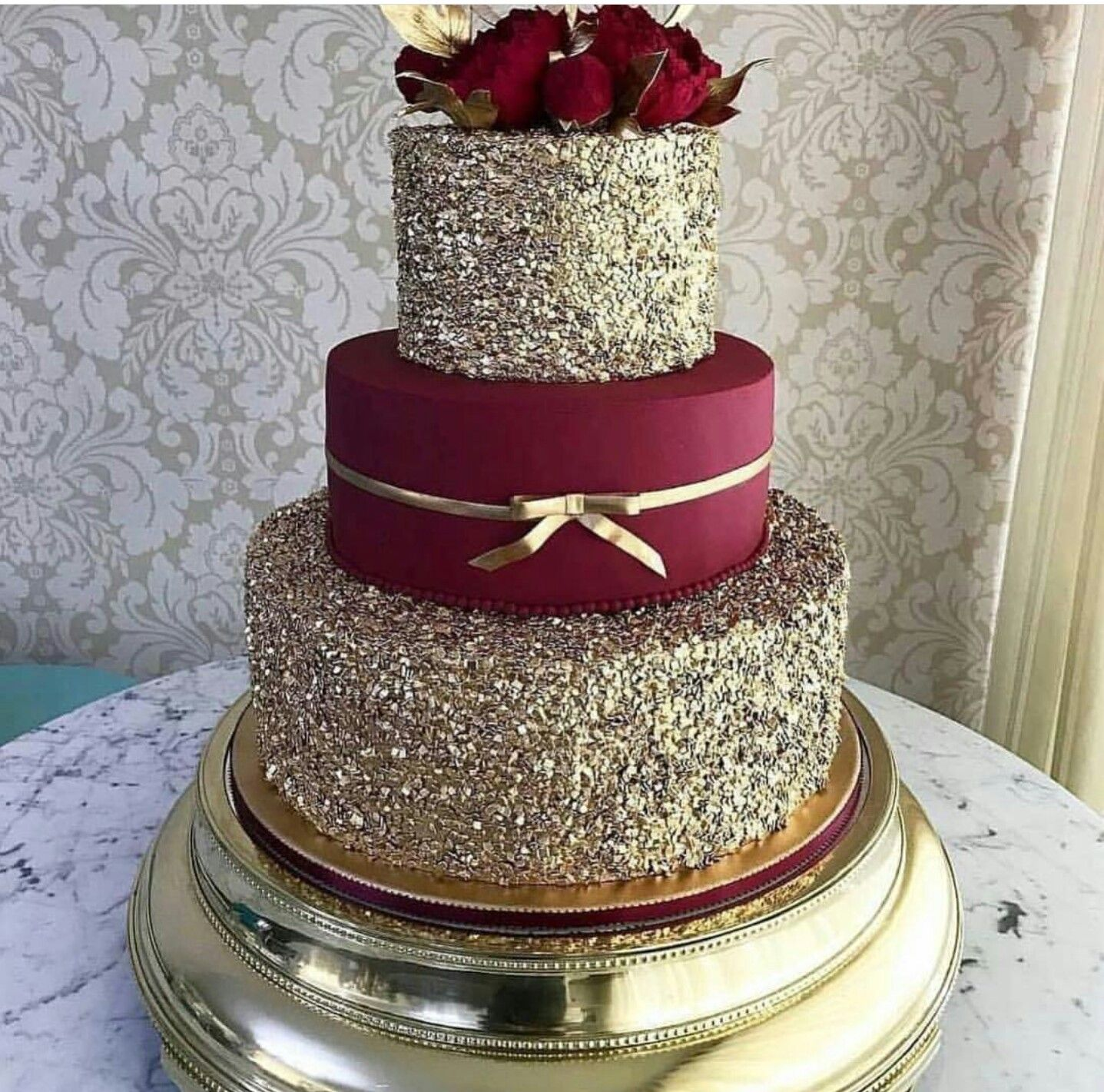 Burgundy And Gold Cake For Wedding