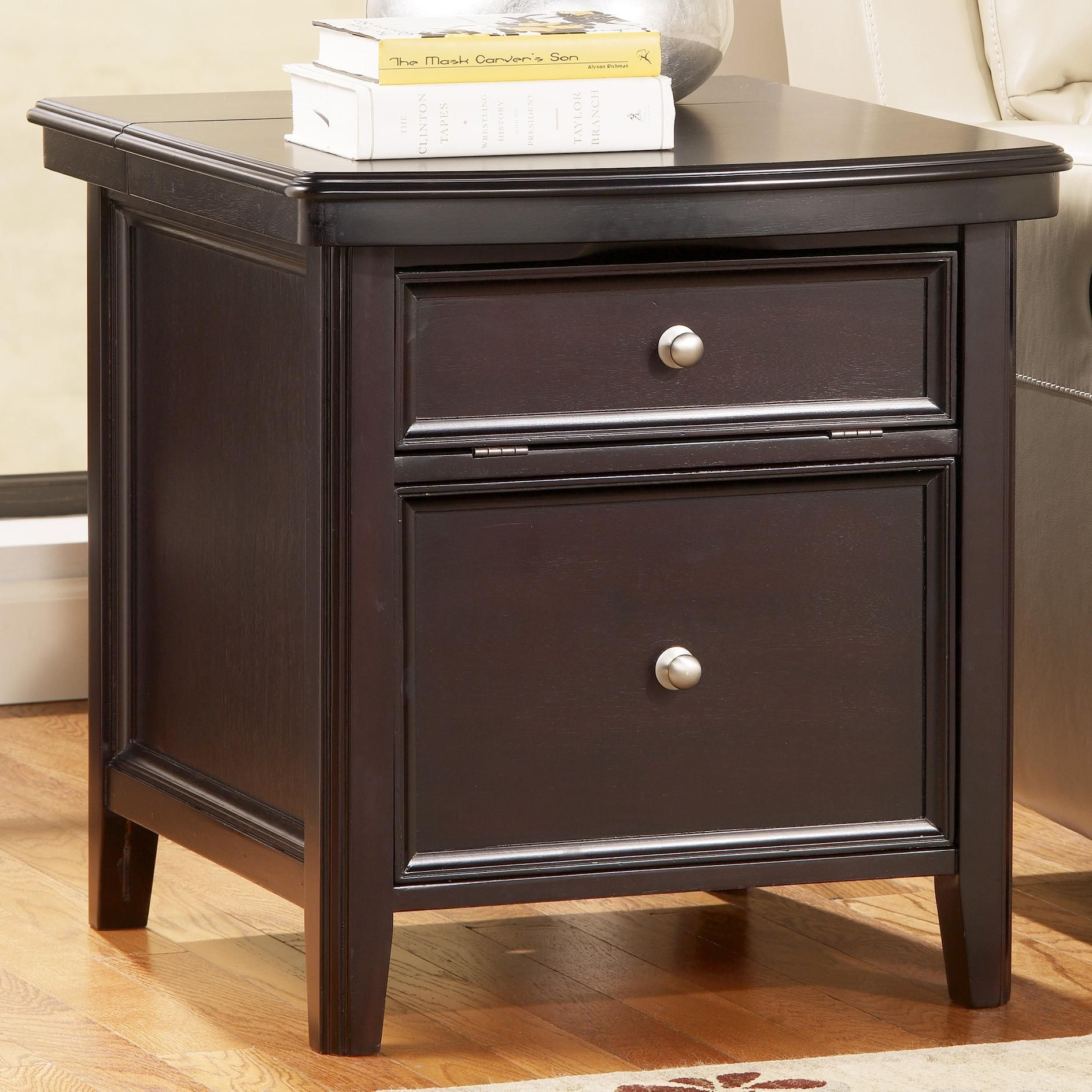 carlyle chairside end table with electrical outlet and file storage drawer by signature design by ashley