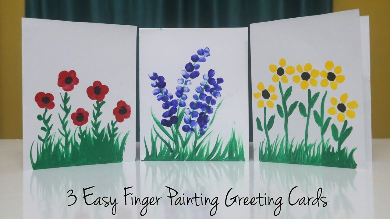 3 Easy Finger Painting Greeting Card Ideas Teacher S Day Card Kids Can Make Youtube Finger Painting For Kids Finger Painting Teachers Day Card