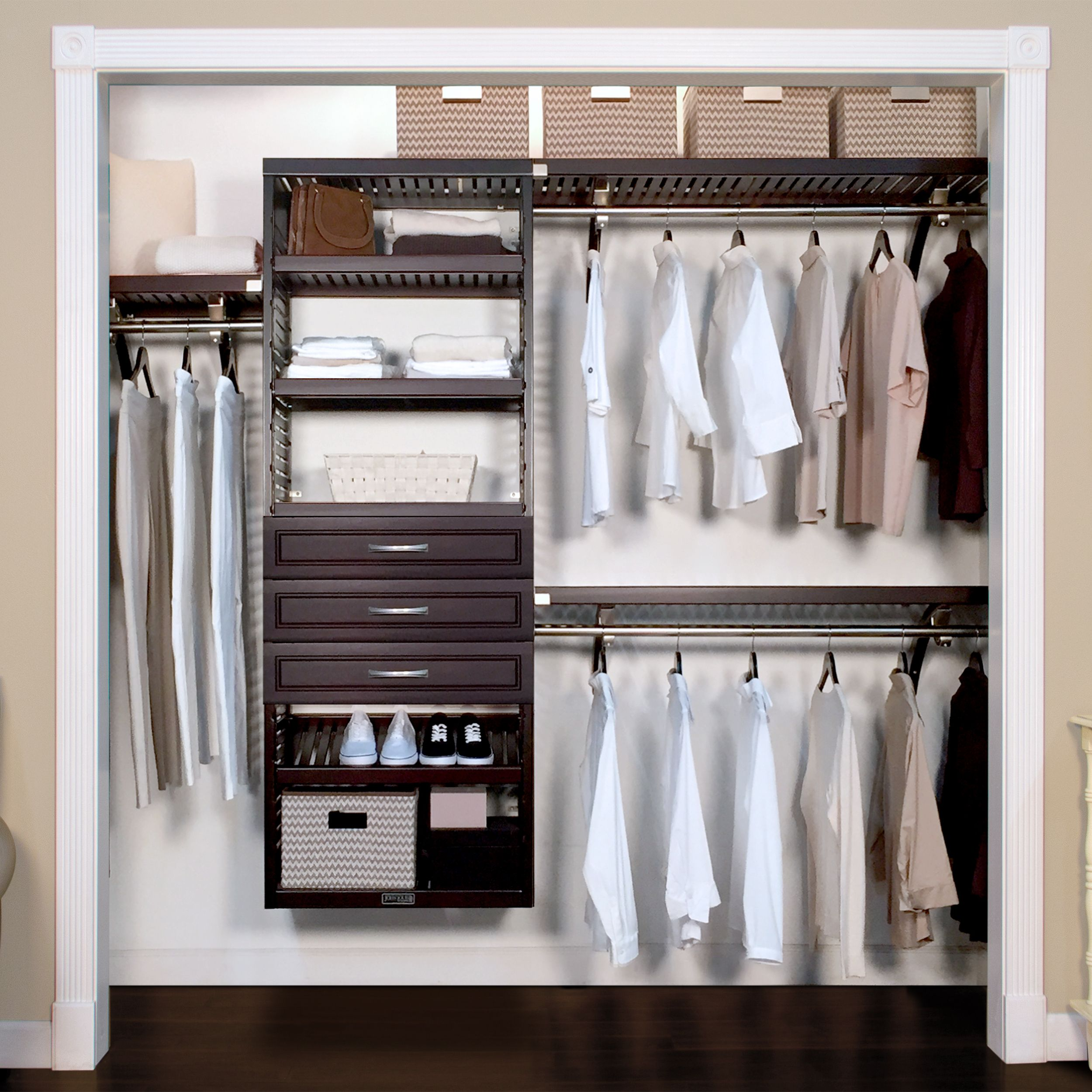 16in deep woodcrest deluxe organizer 3 drawers 6in