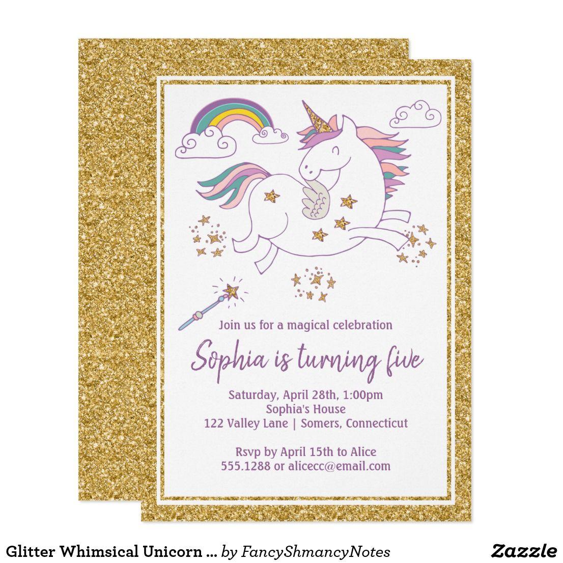 Glitter Whimsical Unicorn Birthday Invitation Zazzle Com With