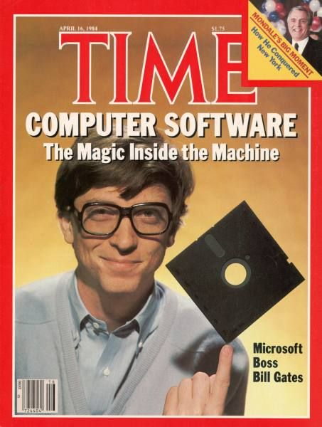 #Time covers Computer Software - Bill Gates displays the floppy disk in 1984 http://ultimatehardwarestore.com