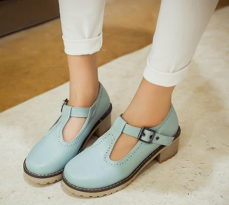 Women Round Toe Mary Jane Platform Lolita Retro Oxford Buckle Mid Heel Shoes