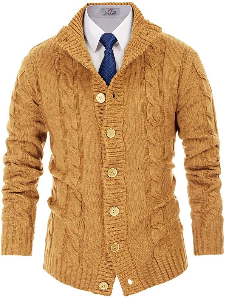 PAUL JONES Mens Casual Full-Zip Cardingan Sweater Stand Collar Long Sleeve Size