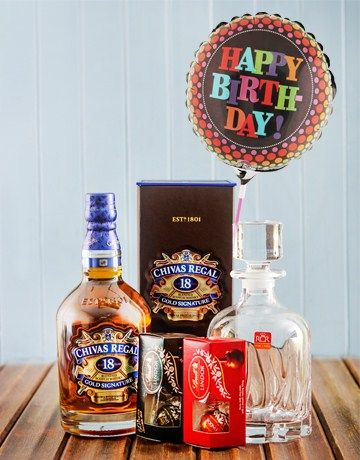Chivas Regal Birthday Hamper With Balloon Birthday Hampers Alcohol Gifts Gift Hampers