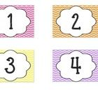Here you will find a colorful chevron print calendar set. You will get 12 monthly headings, 31 numbers, today is..., yesterday was..., tomorrow wil...