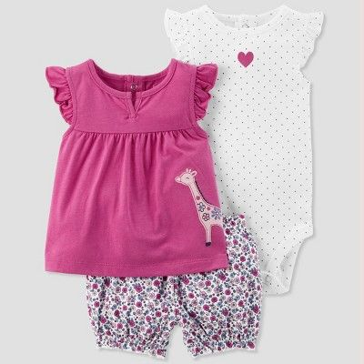 Baby Girls  3pc Giraffe Set - Just One You made by carter s Purple ... 35916a1b6