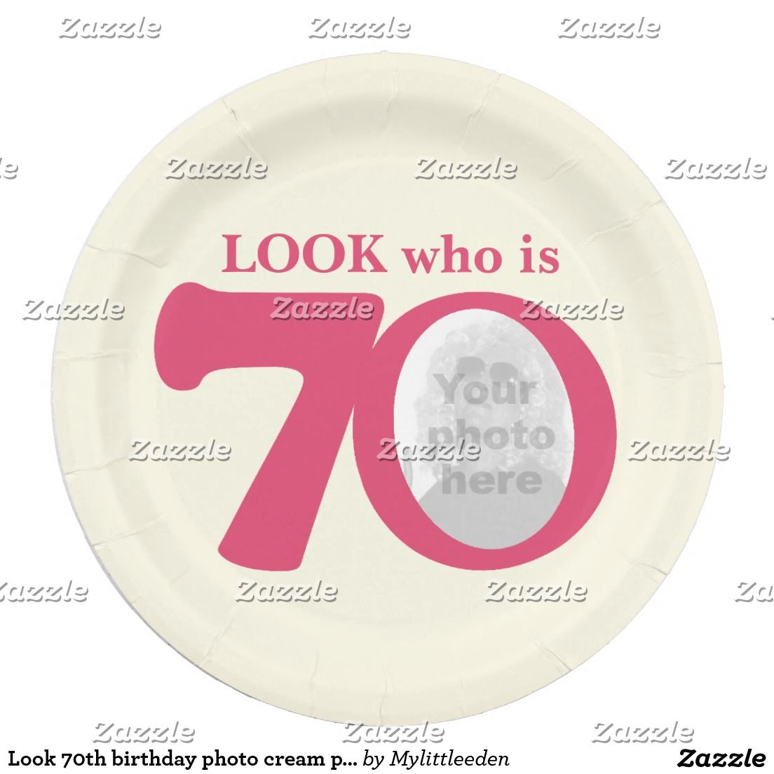 Look 70th birthday photo cream pink paper plate
