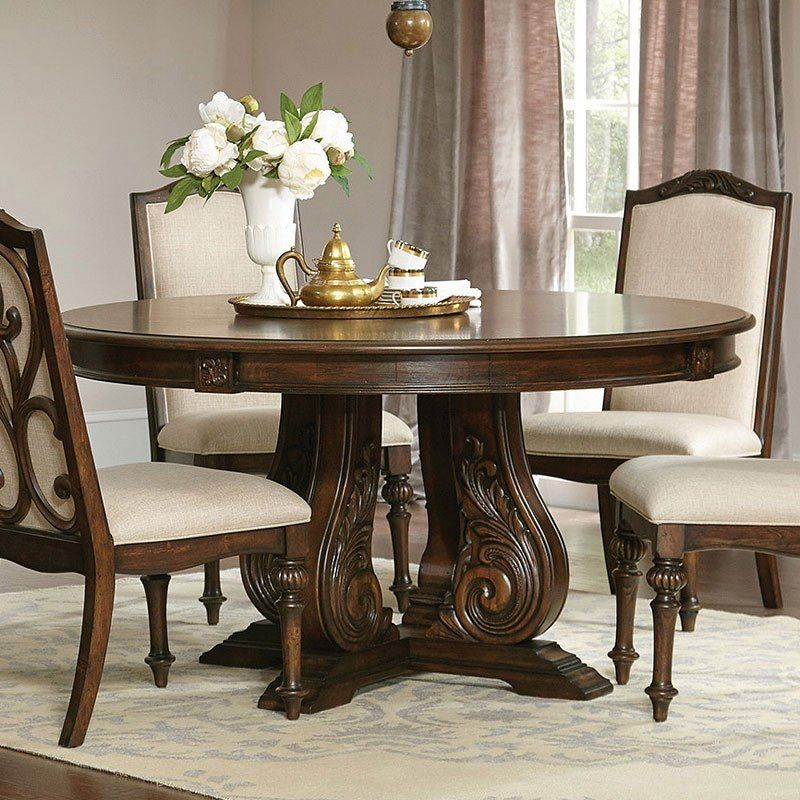 Ilana Round Dining Table Antique Java In 2020 Round Pedestal