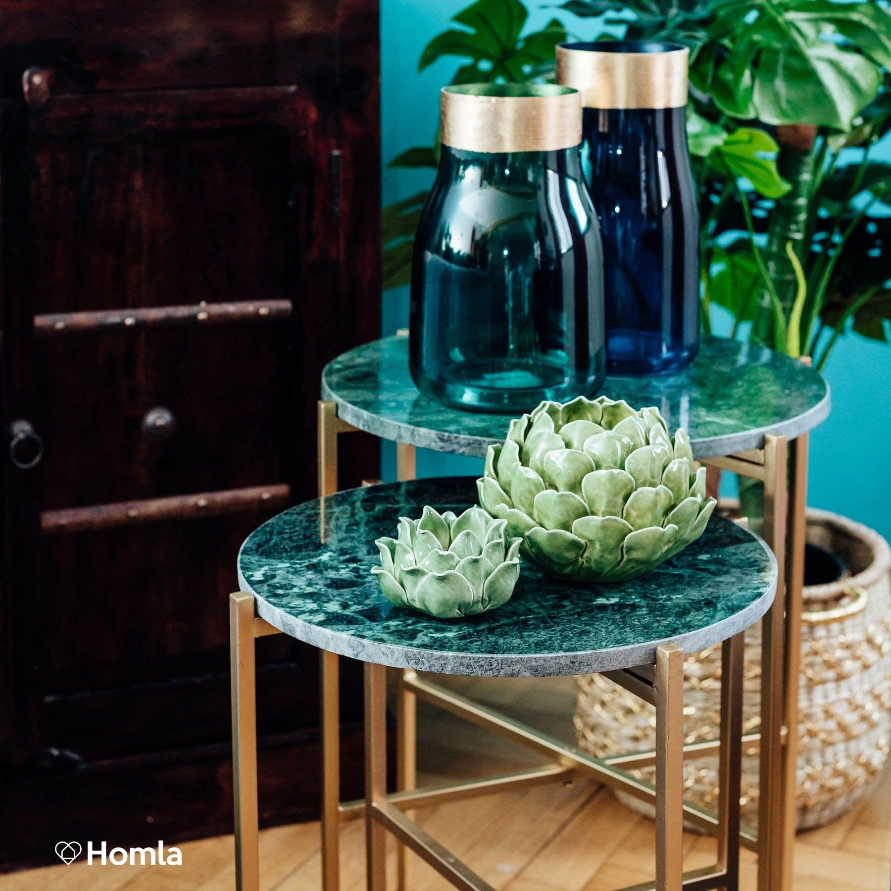 Marble Stolik Kawowy Zielony 55x43 Cm Meble Homlacompl