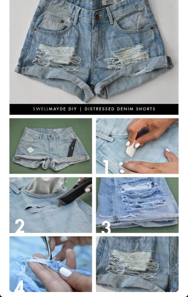 Mr. Kate diy style: perfectly distressed jean shorts.