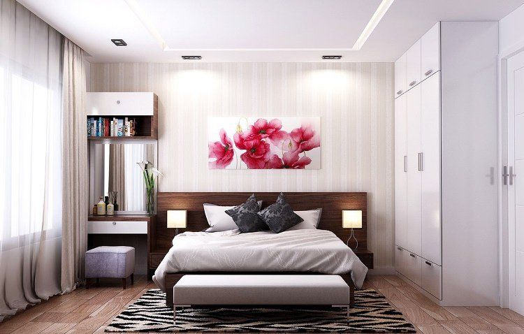 chambre cosy, tête de lit en bois massif, tapis graphique, bout de