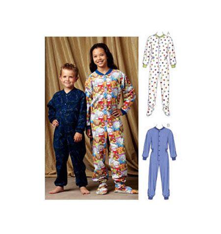bb84c27ee Mccalls Kwik Sew pattern 3714 Kids footie Pajamas Sz 4-10