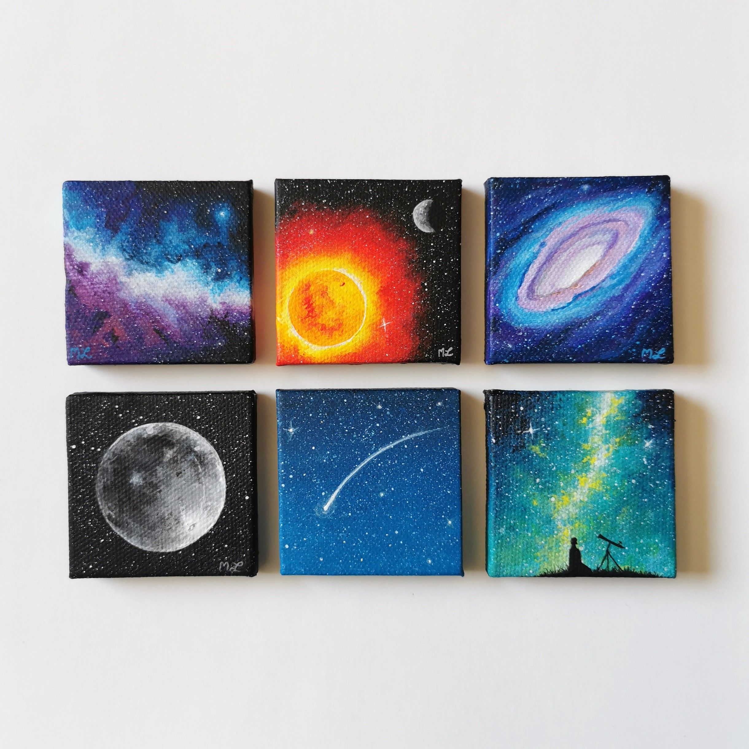 A collection of tiny space paintings I made! Each