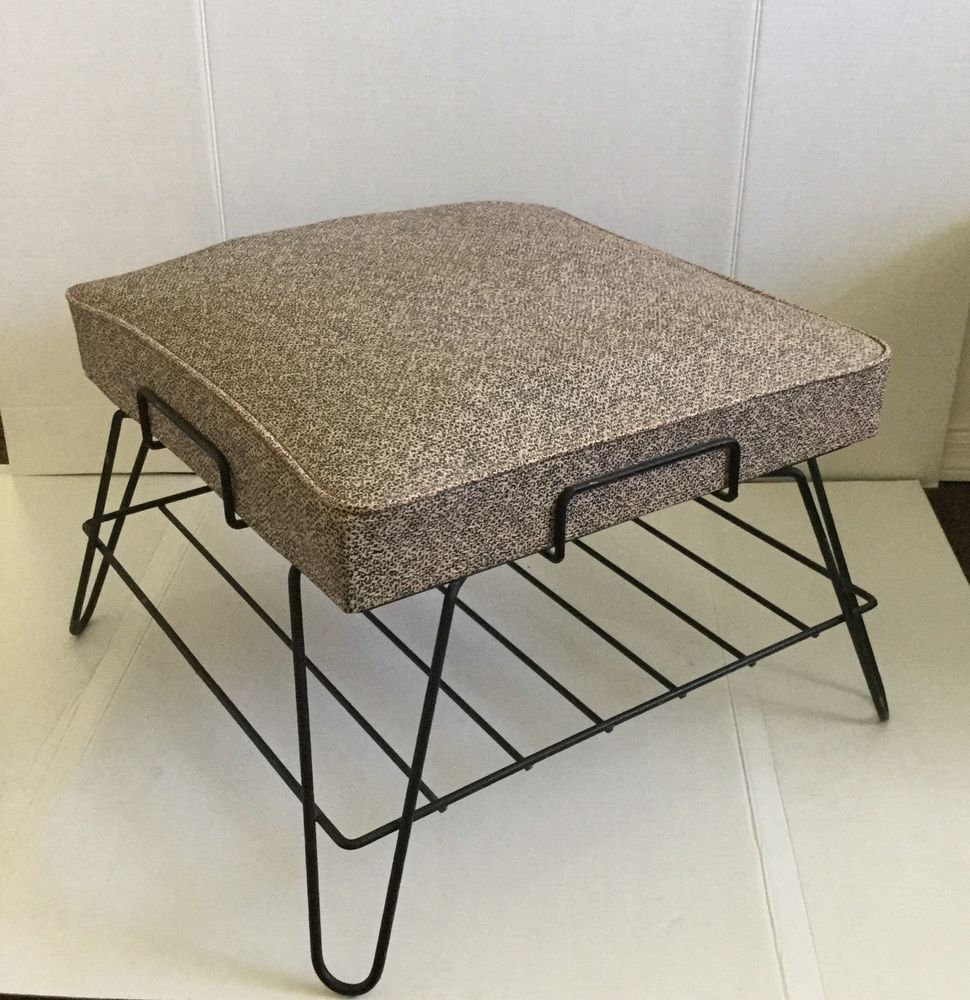 Vtg mid century modern 1950s metal wire vinyl foot stool bench w hair pin legs