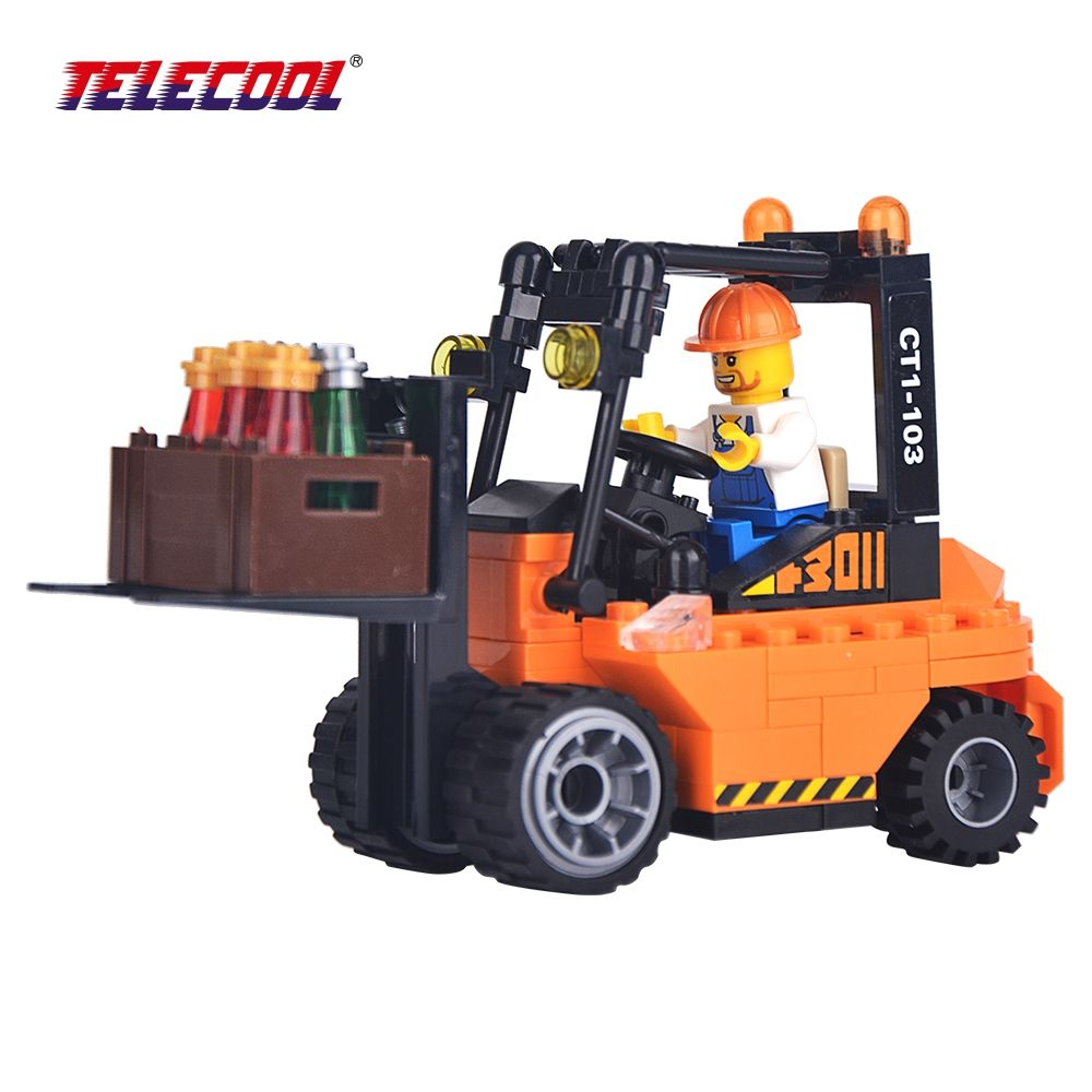 Kids toys images  TELECOOL Heavy  Duty Forklift Fight Plastic Blocks Inserted  PCS