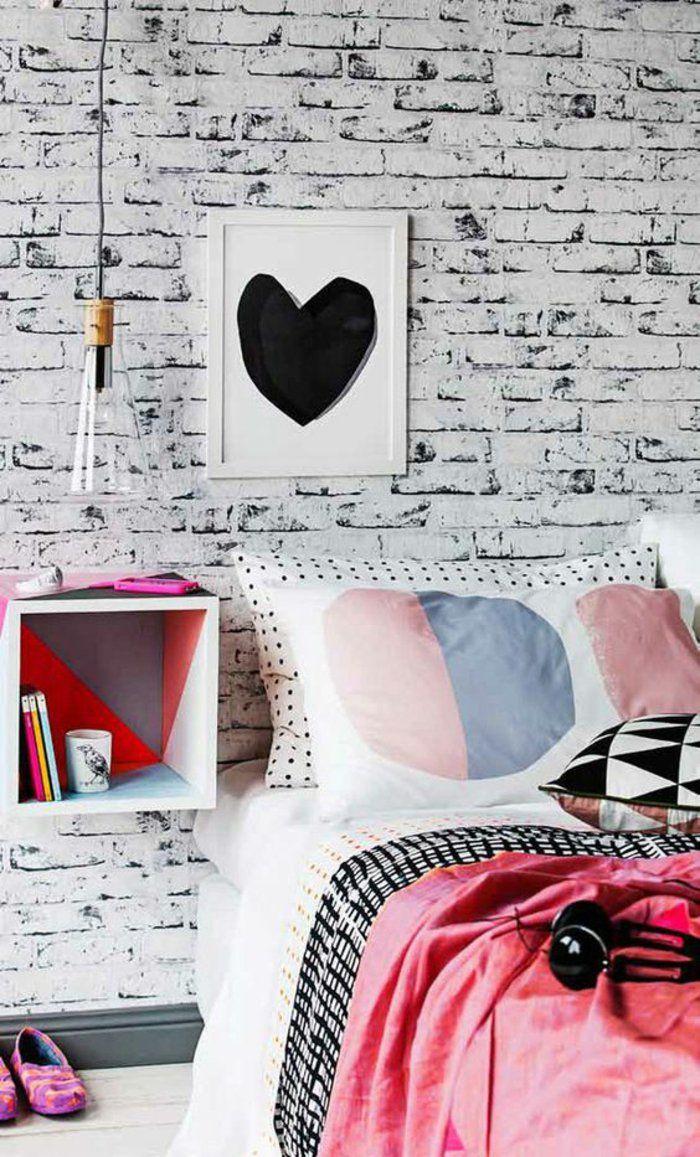 Chambre Ado Avec Papier Peint Brique ▷ 1001+ idées pour une chambre d'ado créative et