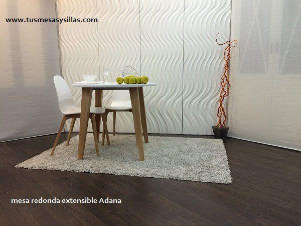 mesa redonda extensible estilo nordico en madera y blanco, es fuerte con guias de acero y diseño moderno