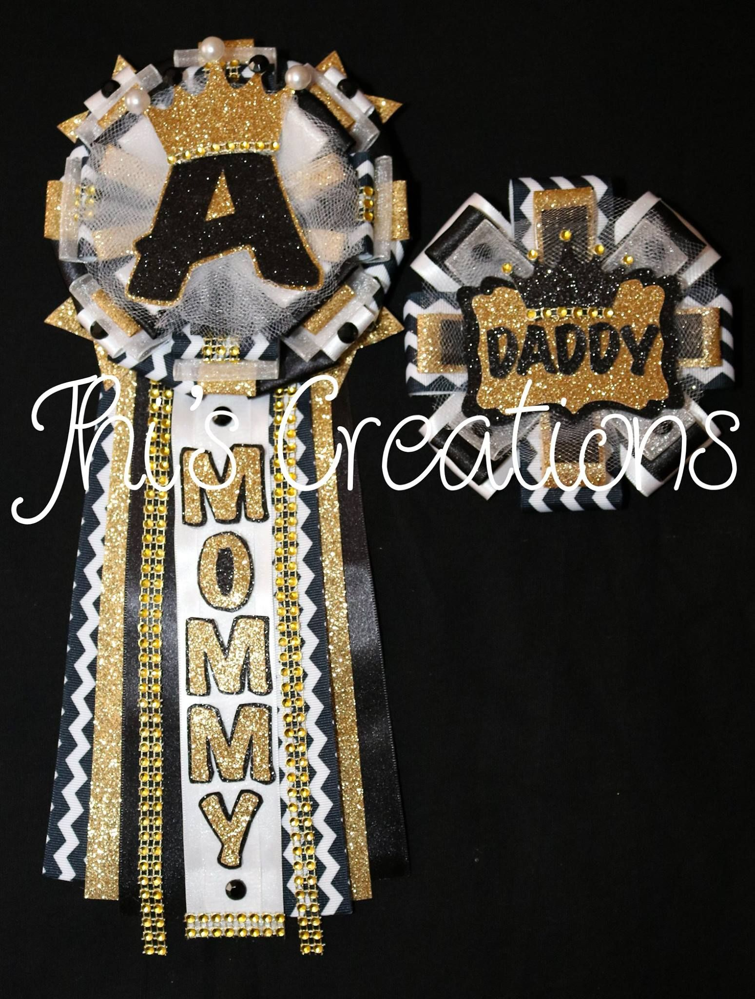 Prince Themed Baby Shower Pin Set 5 In Black White And Gold