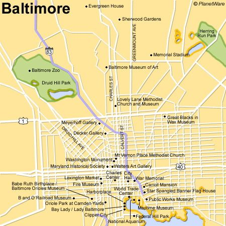 Map of Baltimore Attractions PlanetWare Pennsylvania and