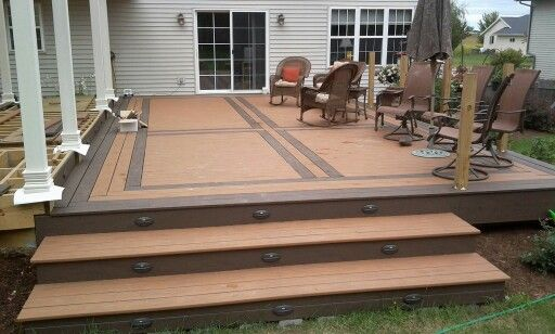 Diy Deck With Timbertech Composite Floor Walnut Grove And Harvest Bronze Colors Picture Frame Border And Inlay Cros Wooden Deck Designs Deck Design Diy Deck