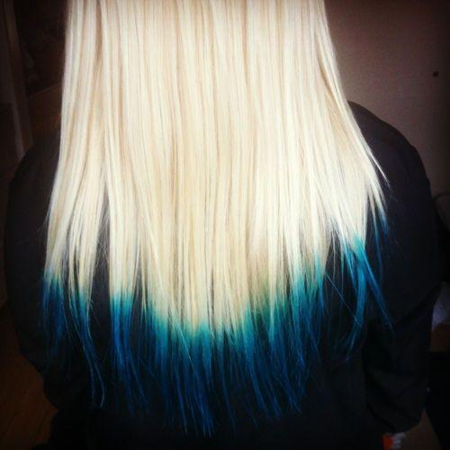 White Blonde Hair With Blue Tips Blue Tips Hair Dip Dye Hair