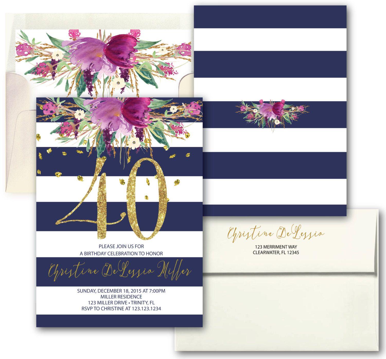 Purple flower gold navy Striped 40th Birthday Invitation // Fortieth ...