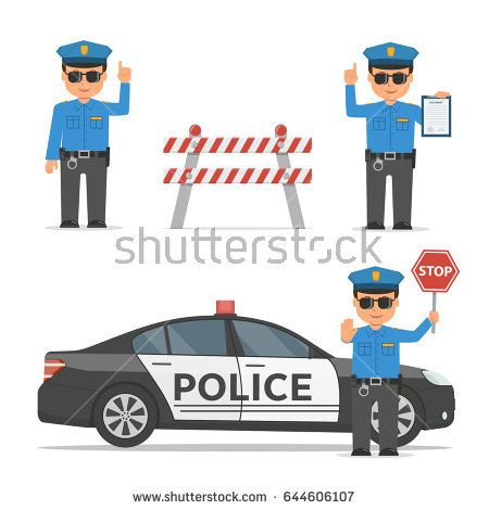 Set Of Cartoon Characters Of A Police Officer Traffic Policeman