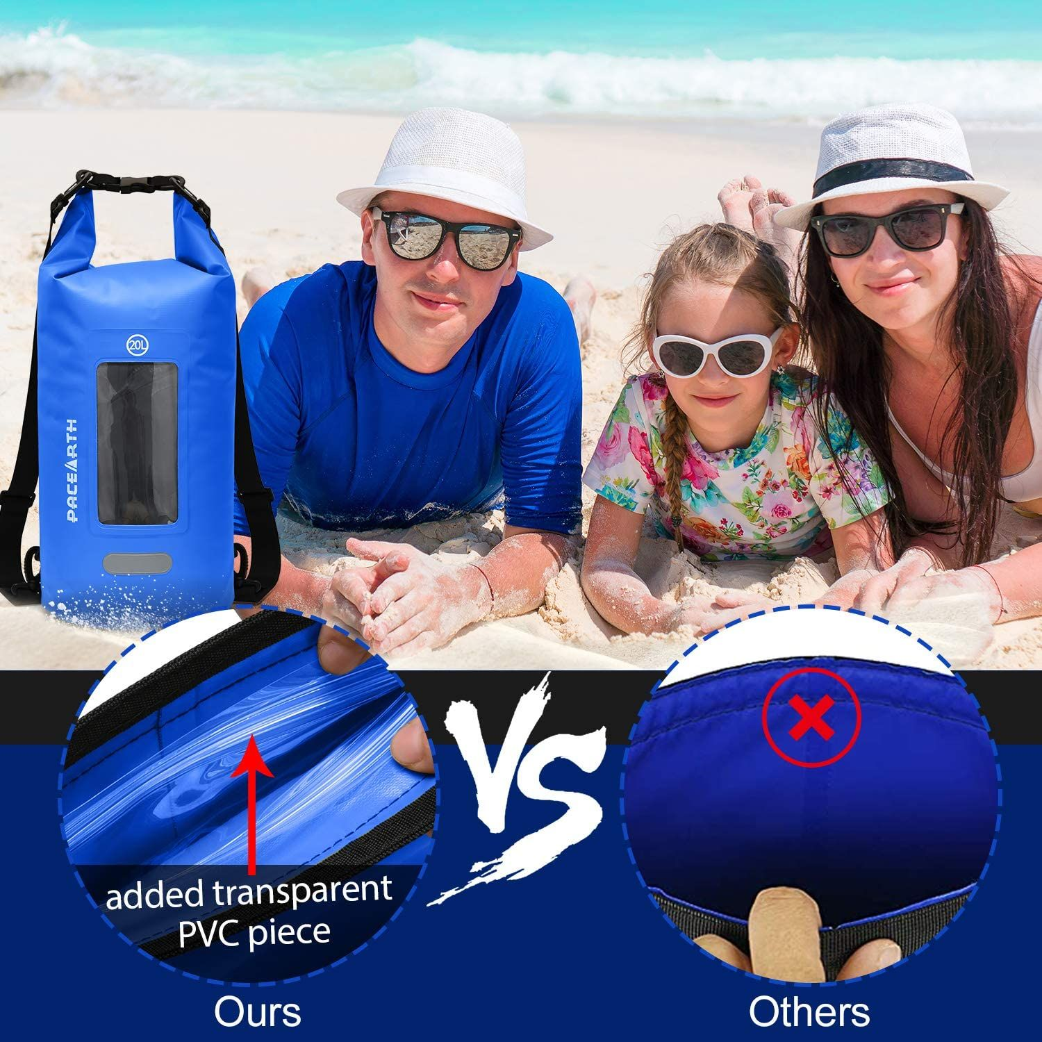 Beach PACEARTH Double-layer Waterproof Dry Bag with Phone Window Case Camping Touchscreen Cover Rafting Boating Fishing Roll Top Dry Compression Sack with Reflective Strip for Kayaking Hiking