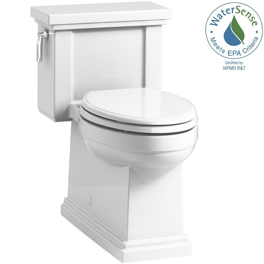 Kohler Tresham 1 Piece 1 28 Gpf Single Flush Elongated Toilet With Aquapiston Flush Technology In White Seat Included K 3981 0 Toilet Modern Toilet Bathroom Collections