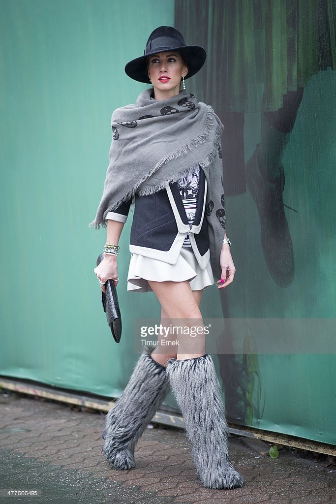 Style consultant Hande Yuece seen wearing a jacket from Barbara Bui a scarf from Zara a skirt from Isabel Marant boots from Chanel and jewellery from Kismet by Milka during the MBFWI presented by American Express Fall/Winter 2014 on March 10, 2014 in Istanbul, Turkey.