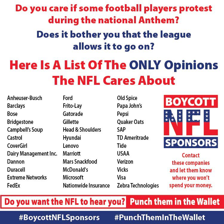 Pin By Randa On Happening Now Nfl Sponsors Nfl Anthem Protest