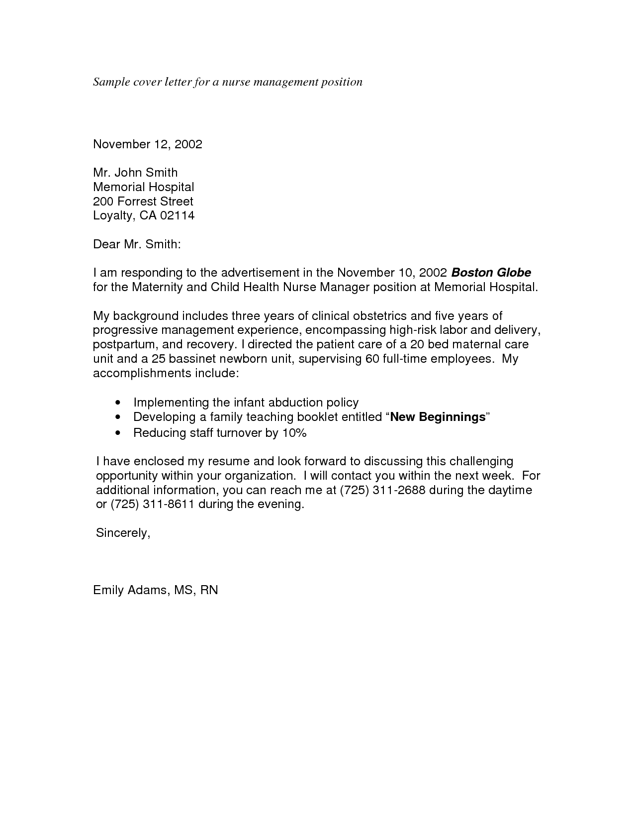 Wonderful Sample Nursing Application Cover Letters | Sample Cover Letter For A Nurse Management  Position   PDF