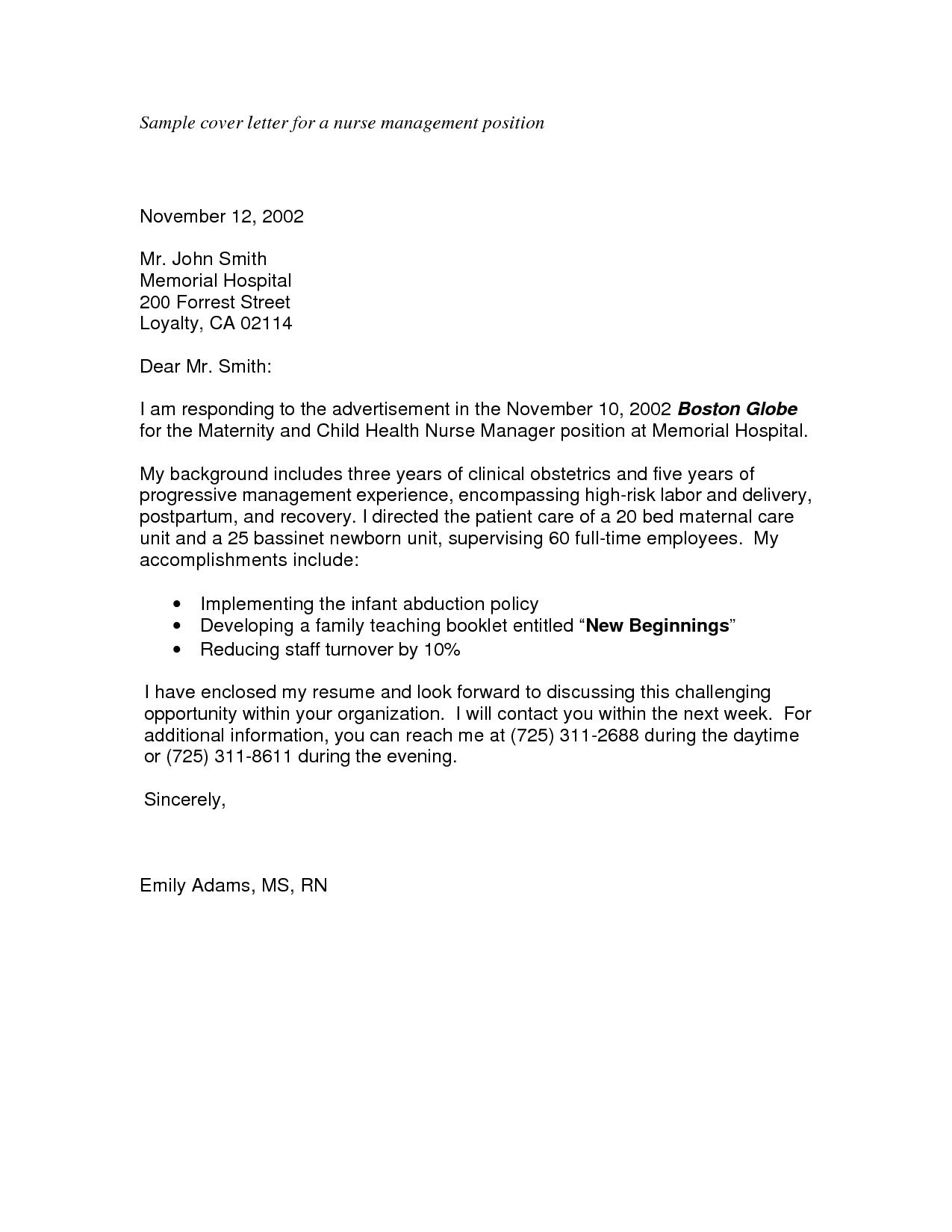 Cover Letter Format Nursing Director Cover Letter