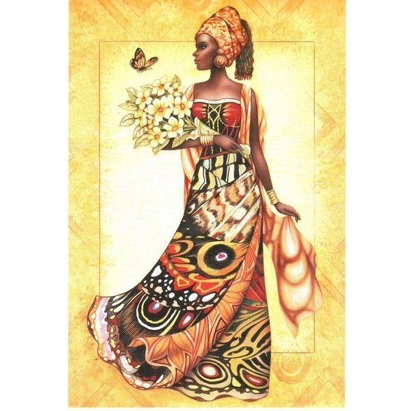 African Woman Butterflies Art Tapestry Wall Hanging Liked On Polyvore Featuring Home Home Decor Wall Art Butte Africa Art African Art African American Art