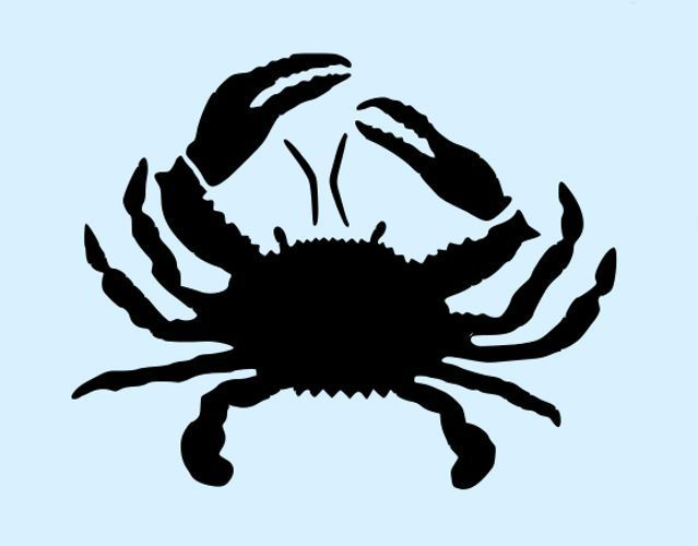 Crab stencil blue laser cut stencils template craft