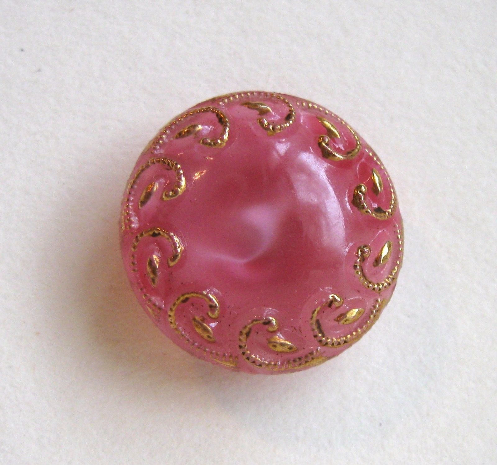 Vintage Button Pink Glass Moonglow with Gold Luster | eBay
